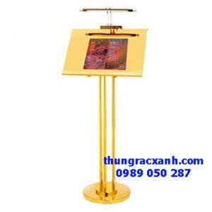 Bảng menu inox mạ vàng có đèn