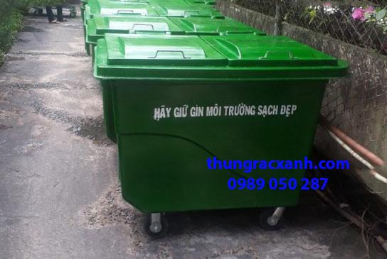 Thùng rác nhựa composite 660 lít giao tại Hưng Yên