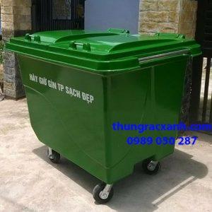 Thùng rác nhựa composite 660 lít có 4 bánh xe