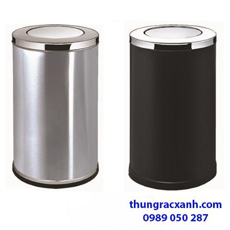 Thùng rác inox nắp lật 2 màu trắng- đen