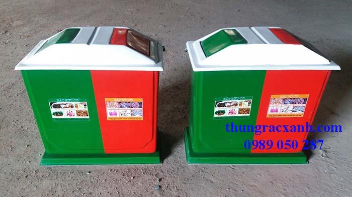 Kho thùng rác nhựa composite 2 ngăn